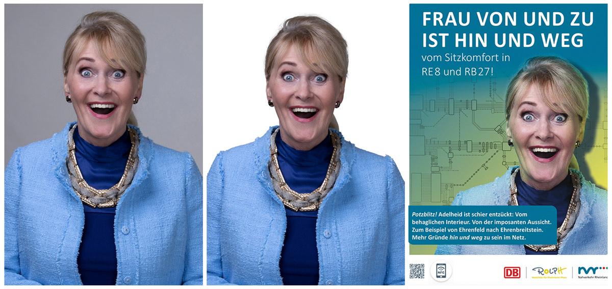 Bearbeitungsprozess von Werbekampagne für die Deutsche Bahn